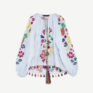 Zara Embroidered Striped Colorful Fringe Tunic